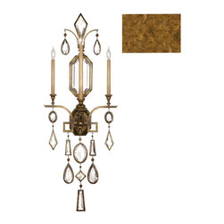 Fine Art Lamps - Encased Clear Crystal Gems Sconce, 727050-3ST - Nothing reflects light quite like crystal gems. The beautifully cut pieces dangling from this candelabra sconce add to the warm glow of its gold-leaf base. It's a glamorous piece that will surely warm your room for years to come.