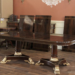 Large Mahogany Antique Reproduction Dining Table (LH 4 3B) - Shown here without any extensions, this table has a reeded edge and a nice apron.