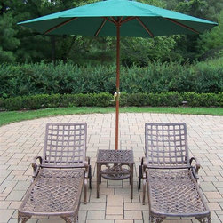 Oakland Living - Elite 5-Pc Outdoor Chaise Lounge Set - Includes two chaise lounge, side table, umbrella and umbrella stand. Lightweight. Fade, chip and crack resistant. Brass hardware. Warranty: One year. Made from rust free cast aluminum. Hardened powder coat finish in antique bronze. Minimal assembly required. 71 in. L x 25.5 in. W x 35 in. H (196 lbs.)This Chaise lounger set will be a beautiful addition to your patio, balcony or outdoor entertainment area. Our Chaise lounger sets are perfect for any small space, or to accent a larger space.