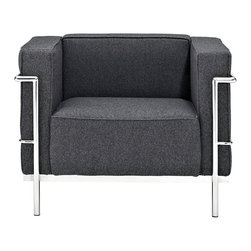 "IFN Modern - Le Corbusier LC3 Style Armchair-Dark Grey - Cashmere Wool - The original Le Corbusier Sofa set collection was designed for the prestigious Maison La Roche house in Paris, France in the year 1928. This design is a modernist take on the traditional club chair. This collection varies in a smaller version known as the LC2 and a larger version known as the LC3 which is considered to be more functional for practical living purposes. Exceptional in comfort, Le Corbusier often thought of his pieces as ""cushion baskets."" intriguing quality of the LC2 is the externalized metal frame which offers support to the base and extends as the legs and runs the entire length of this beautiful piece. The LC2 is not only attractive in a forward facing view- the metal frame work extends into design detail from the sides and back as well allowing for placement in any given area of a room. This is a quality, highly detailed reproduction of the original Le Corbusier LC3 Style Arm Chair.Overall Dimensions: 26.4"" H x 35"" W x 27.6"" Dâ— Dark Greyâ— Fully upholstered in Cashmereâ— Fully upholstered in your leather grade of choice, including all sides, back and detailing; not Leather Match, Bonded Leather etc.â— Frame is constructed of Stainless steel for stronger support and durable chip resistanceâ— All joints are fully welded, grind, sealed and sandedâ— Adjustable leveling floor protecting foot-capsâ— Multi-density, CA-117 compliant cushions wrapped in Dacron polyester battingâ— Fire retardant foamâ— Reinforced bottom seat cushions for firm, long-lasting comfortâ— Hardwood box frame constructionâ— 5 year warranty"