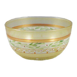 """Mosaic Gold Garland 6"""" Bowl - This is a 6"""" bowl is hand painted and is from our Mosaic collection and inspired by the colorful tiles of the Alhambra.  Something to be handed down from generation to generation. Proudly hand painted in the USA."""