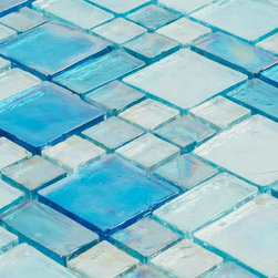 Iridescent Glass Mosaic Tile Pale Blue Random Blend - Iridescent Glass Mosaic Tile Pale Blue Random Blend is face mounted on a 12 inches by 12 inches clear tape sheet for an easy installation. Each individual tile chip is 8mm thick. Iridescent glass tiles reflect the light and create a focal point, providing a great design aesthetic. This mosaic tile is suitable for swimming pool, Jacuzzi, water feature, spa, kitchen backsplash, bathroom, shower walls, and fireplace surrounds.