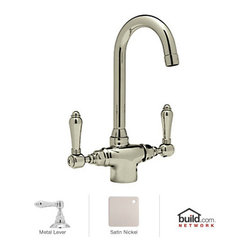 """Rohl - Rohl A1667LMSTN-2 Satin Nickel Country Kitchen Country Kitchen Low - Country Kitchen Low Lead Kitchen Faucet with Metal Lever HandlesBorn in the Piedmonte region of France, an area known for its rich tradition of cuisine and culture, the Country Kitchen collection is defined by exquisite design. Straight lines are paired with gentle curves and ribbing details to create a classic look that is as popular today as it was years ago. And with function set as the cornerstone of all Rohl products, rest assured that the beauty of the Country Kitchen collection does not overshadow its use. Smooth handle operation, lifetime ceramic disc valves, and a sturdy feel that only all-brass construction could allow are all defining features of the Country Kitchen collection. As one of Rohl's largest collections, you will find that there are a variety of bold styles and finishes to choose from.Rohl A1667LM-2 Features:All brass faucet body construction - weight: 7 lbs.Hand-machined from solid brass stockIndustry leading, 1/4 turn lifetime ceramic disc valveSuperior finishing process – chemical, scratch, and stain resistantNumber of installation holes required: 1Spout swivels to allow for unobstructed sink access1.5 gallons-per-minute flow rateInstalls onto decks up to 2-11/64"""" thickMetal lever handles includedOverall height: 11-3/4"""" (measured from counter top to highest point of faucet)Spout height: 8-5/8"""" (measured from counter top to faucet outlet)Spout reach: 5"""" (measured from center of faucet base to center of faucet outlet)Low lead compliant – complies with federal and state regulations for lead contentDesigned for use with standard U.S. plumbing connectionsExtra secure mounting assemblyAll necessary mounting hardware includedFully covered under Rohl's limited lifetime warrantyManufactured in New Zealand, Western Europe, and/or North AmericaVariatio"""