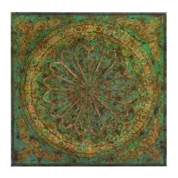 UMA - Vintage Verdigris Wall Art - Reminiscent of tin roof tile, this piece feature classic symmetry and dimension in rich jewel tones