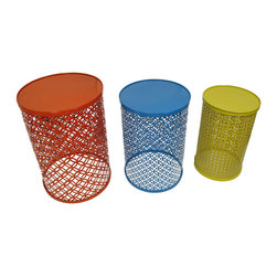 Zeckos - Red, Blue and Yellow Decorative Round Metal Nesting Tables Set of 3 - This sturdy trio of tables features a decorative filigree construction and a solid top perfect to use as pub tables, unique pedestal tables for statues, plants or gallery art, or flip them upside down to use as fancy waste baskets! These ornamental metal tables boasts an enamel finish in red, blue and yellow, and easily nest inside each other when not in use, too! The tallest table measures 20.5 inches high and 14 inches in diameter (52 x 36 cm), the mid size table is 18 inches high by 12.5 inches diameter (46 x 32 cm), and the shortest table stands 16.5 inches high and 10.5 inches in diameter (42 x 27 cm), and are great for any room inside your home, on the porch or patio or out by the pool to hold your drinks! They are great as a housewarming gift sure to be enjoyed!