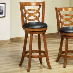 Monarch - 42in.H Swivel Barstool in Dark Oak Solid Wood - Set of 2 - Style or comfort? Why pick when this dark oak finish wood barstool blends both so seamlessly? With its plush black swivel seat, interlocking circle design and perfectly positioned circular footrest