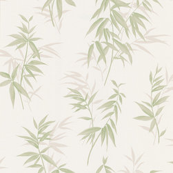 Brewster - Bamboo Shoot Light Green Leaves Wallpaper - Bring the Far East into your home. For an Asian influenced décor, wallpaper with a light colored bamboo shoot pattern is the way to go.