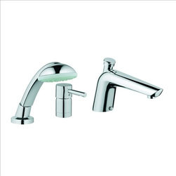 Grohe - Grohe Essence Roman Tub w/ Hand Shower - If you're searching for a cool, crisp look then Essence is the faucet for you. Its glistening chrome finish - due to GROHE StarLight technology enhances its clean, minimalist shape and pure design, while GROHE Silk Move gives you a faucet that is technically advanced. Essence is a stylish faucet that will endure long after passing trends fall by the way-side. Indeed, Essence is a faucet for life.