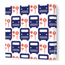 "Avalisa - Things That Go - Bus Stop Stretched Wall Art, 12"" x 12"", Navy - For a cutting-edge art look, forget the frame! This poppy bus motif will be eye-catchingly cute in your child's room — or wherever young-at-heart grown-ups gather."