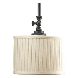 "Progress Lighting - Progress Lighting P5256-84 Clayton 1 Light Pendant in Espresso P5256-84 - 1-Lt. Mini-Pendant highlighted by modern drum shades in cream linen fabric with soft side pleats. Finished in Espresso, this traditionally rooted design is where classic vintage styling meets minimalistic lines.Bulb Type: Incandescent Collection: Clayton Crystal: No Energy Star Compliant: No Finish: Espresso Height: 9"" Lamp Wattage: 100W max Length: 66"" Number of Lights: 1 Pendant Type: Mini Socket 1 Base: Medium Socket 1 Max Wattage: 100 Type: Pendants Width: 8-1 8""{General Cream linen fabric drum shade: 8-1 8""Dia. x 6""H. Turnkey above fitter for custom shade direction Two 6"", one 12"", and two 15"" stems supplied with concealed connectors and a 90 degree swivel in the canopy Painted Espresso (-84) finish Steel construction Companion chandeliers, pendant, close to ceiling, and wall bracket fixtures available {Mounting Ceiling mounted on stem Canopy covers a standard 4"" hexagonal recessed outlet box Mounting strap for outlet box included {Electrical Medium based ceramic sockets 10' of wire supplied Pre-wired {Labeling UL-CUL listed"