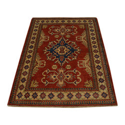 100% Wool Hand Knotted 4'x5' Red Kazak Tribal Design Oriental Rug SH16700 - This collections consists of well known classical southwestern designs like Kazaks, Serapis, Herizs, Mamluks, Kilims, and Bokaras. These tribal motifs are very popular down in the South and especially out west.
