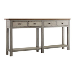 Hooker Furniture - Ramsey Hall Console - Bring in the French countryside with this rustic gray console table. The cherry veneer contrasts nicely with the muted finish and it comes with gray and cherry knobs so you can mix or match. Perfect for a country cottage aesthetic in your kitchen or dining area.