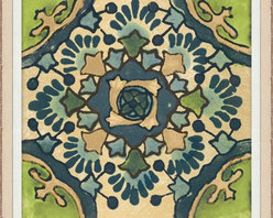 Wendover Art - Garden Tile Green - This elegant Giclee on Paper print adds a bit of flare to any space. A beautifully framed piece of art has a huge impact on a room for relatively low cost! Many designers and home owners select art first and plan decor around it or you can add artwork to your space as a finishing touch. This spectacular print really draws your eye and can create a focal point over a piece of furniture or above a mantel. In a large room or on a large wall, combine multiple works of art to in the same style or color range to create a cohesive and stylish space!