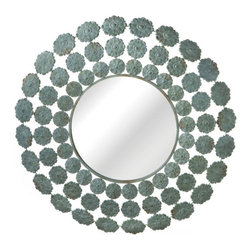 Radiate Flowers Mirror - Old World style gets a modern, feminine touch with this lovely wall mirror. The frame radiates out with rings of small, antiqued metal flowers for surprising textural interest.