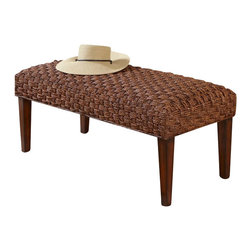 Home Styles - Home Styles Cabana Banana II Bench in Cinnamon Finish - Home Styles - Living Room Benches - 540428 - Bring back the island essence with the Cabana Banana II Bench from Home Styles. This eco-friendly piece features frames that are made of 100 percent sustainable natural materials. Construction is from hand braided, four over two woven pattern, banana leaves, mahogany solids, and plywood in a cinnamon finish.
