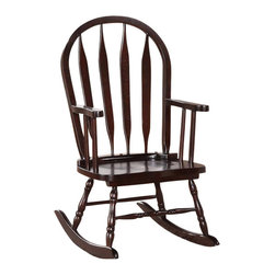 Monarch Specialties - Monarch Specialties Casual Juvenile Arrowback Rocking Chair in Cappuccino - This juvenile rocking chair is the perfect addition to any child's room! This arrow Windsor back rocker has a curved top, soft serpentine arms that frame the seat, turned spindle supports, and has a rich cappuccino finish. Turned legs above the solid wood rocker base complete this charming look and add a certain country style warmth. What's included: Rocking Chair (1).