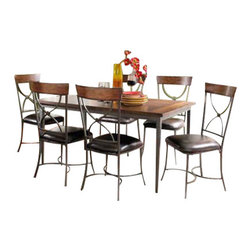 "Hillsdale Furniture - Hillsdale Cameron 7-Piece Rectangle Dining Room Set with X-Back Chairs - Hillsdale's Cameron collection beautifully combines a warm chestnut brown wood finish with a dark grey metal and offers a multitude of choices to create the perfect dining group for your home. Starting with the chairs, you have the choice of three lovely designs: The X-Back chair combines a warm chestnut brown top accent with a transitional metal X in the center of the back and a brown faux leather seat. The parson's chair is traditional in design and combines the warm chestnut brown finish with the brown faux leather seat. The ladder back chair features 3 rungs in the chestnut brown finish, enhanced by the dark grey metal and brown faux leather seat. Now that you have decided on your chair, let's look at the table options: The stunning rectangle table features a wood top that is generously scaled to easily accommodate 6. The simple round table features a 48"" diameter wood top with flared metal legs. The round wood table is 48"" in diameter and features a wonderful metal accent on the base."