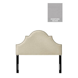 Home Decorators Collection - Custom Ashby Upholstered Headboard - Our Custom Ashby Upholstered Headboard is embellished with a line of decorative nailheads along the silhouette. Its dramatic design and plush upholstery will make your bed the centerpiece of the bedroom. Includes nailhead trim. Includes hardware to attach to most standard bed frames. Assembled to order in the USA and delivered in 4-6 weeks. Spot clean only.