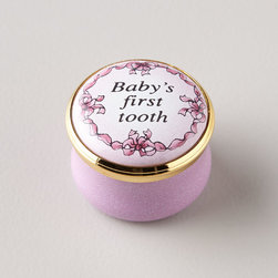 """Halcyon Days Enamels - Pink Baby's First Tooth Box - PINK - Halcyon Days EnamelsPink Baby's First Tooth BoxDetailsCommemorate a milestone in the life of a cherished infant with this delightful box. A miniature work of art it makes a wonderful christening or first birthday gift.Hand-painted enamel over copper.Approximately 1""""Dia. x 0.75""""T.Made in the United Kingdom.Designer About Halcyon Days Enamels:The Halcyon Days shop opened in London's Mayfair in 1950 and its Halcyon Days Enamels debuted 20 years later singlehandedly reviving the nearly lost English art of enameling on copper. Halcyon Days Enamels keepsake boxes featuring hand enameling and hand painting are prized by collectors worldwide as modern heirlooms."""