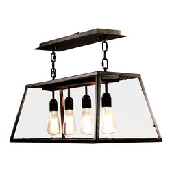 Warehouse of Tiffanys - Warehouse of Tiffany's Edison Island Light - The Warehouse of Tiffany's Edison Island Light is a fusion of contemporary and modern design. Constructed of steel and glass, this indoor setting light is sure to make a bold statement with your home decor.