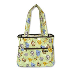 """Trend Lab - Diaper Bag - Chibi Tulip Tote - Hit the road equipped and in style with this Chibi Zoo Tote Bag by Trend Lab. Laminated bag features a scatter print of 6 different baby animals on a sage background throughout the outside body with a matching brown, yellow, blue, gray and sage mini square print inside. Outside of bag has two side bottle pockets, a front zippered pocket and a wide Velcro closure pocket on the back. Inside, four pockets and large mesh divider keep all your travel necessities organized. Snap closure keeps inside contents secure. Removable, coordinating changing pad included. Bag measures 14"""" x 12"""" x 6"""" with 22"""" straps."""