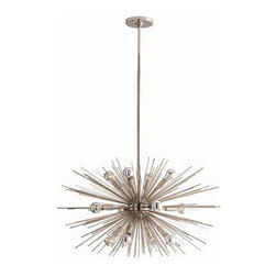 """Arteriors Home - Arteriors Home Zanadoo Polished Nickel Chandelier, Small - Arteriors Home 89670 - Arteriors Home 89670 - The Small Zanadoo 12L Chandelier hangs at an adjustable height of 27"""" - 45"""" and a striking 29"""" diameter. It is a glamorous reference to the starburst motif of the 60s and 70s but reinterpreted for a contemporary aesthetic. Finished in polished nickel, this dramatic fixture will leave your living room, dining room or foyer dazzling beneath its presence. Includes cylindrical ceiling mount and (1) 6"""" and (2) 12"""" rods."""