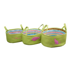 Enchante Accessories Inc - Cat Theme Cotton Canvas with Printed Liner Storage Bins Green(Set of 3) - 3 pc cotton canvas totes in pet motifs with poly liners