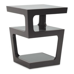 """Baxton Studio - Baxton Studio Clara Black Modern End Table with 3-Tiered Glass Shelves - A unique contemporary side table option, this designer piece offers triple tinted tempered glass surfaces for sophisticated storage and display. The black engineered wood frame descends from the top surface to the bottom in two opposite corners for each level, leaving each space with a wider gap for easy access.  The design includes a width that tapers as it descends from top to bottom. The Clara End Table is fully assembled: just position the glass in place. Maintain the table's beauty by simply wiping the glass surfaces with a glass cleaning solvent and a soft cloth; the frame should be dusted with a dry cloth. Product dimension:17""""W x 17""""D x 21.875""""H"""