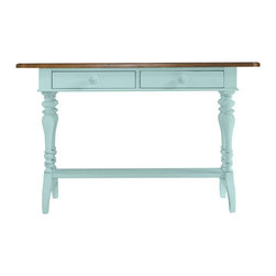 Stanley Furniture - Coastal Living Cottage-Console Table - Rest your keys. Rest your mind. Artfully turned legs, dual drawers and contrasting Boardwalk top bring coastal charm to even the simplest of spaces.