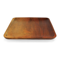 """Ombre Mango Wood Large Square Tray - A simple and natural beauty suffuses the Ombre Mango Wood Large Square Tray. The generously scaled tray is perfect for presenting your guests with hors d'oeuvres, assorted nibbles, or an after-dinner collection of confections. The gently raised rim allows for easy containment of contents. As """"green"""" as it is gracious, the tray is fashioned from ecologically harvested mango wood."""