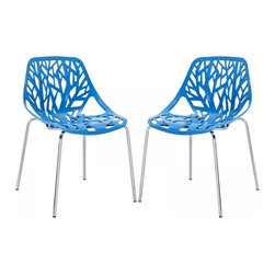 Modway Imports - Modway EEI-1317-BLU Stencil Dining Side Chair Set of 2 In Blue - Modway EEI-1317-BLU Stencil Dining Side Chair Set of 2 In Blue