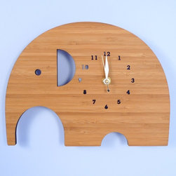 Handmade Bamboo Wall Clock, Elephant - I love the simplicity of these stylized animal clocks. They're great for any space, really.