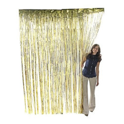 Gold Metallic Foil Fringe Curtain - Metallic Foil Fringe Curtains. 3 ft. x 8 ft.