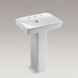 """KOHLER - KOHLER R�ve(R) 23"""" pedestal bathroom sink with 8"""" widespread faucet holes and pe - With geometric lines and contemporary styling, the 23-inch R�ve pedestal sink makes a striking focal point for your bathroom. The deep, V-shaped basin and rectangular pedestal yield a sink that is both practical and brimming with dramatic style."""