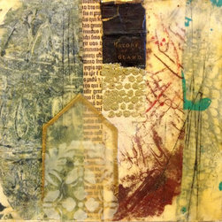 """""""Sanctuary"""" Artwork - Sanctuary by darlene olivia mcelroy is a richly textured abstract painting created with clay monoprints, faux encaustics, and dimensional objects. the visual story is about a place of calm and piece in a wildly energetic world."""