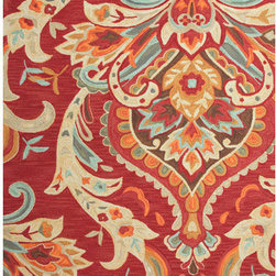 Jaipur - Brio Red and Blue Rectangular: 5 Ft. x 7 Ft. 6 In. Rug - - A youthful spirit enlivens Esprit, a collection of contemporary rugs with joie de vivre! Punctuated by bold color and large-scale designs, this playful range packs a powerful design punch at a reasonable price  - Cleaning and Care: Polyester is dirt and stain resistant and will look great for a long time just by vacuuming regularly. Dries fast so deep steam/rug cleaning works great to release dirt from fiber. If spills occur blot immediately. Use rug/carpet cleaners that are safe on synthetic fibers. Use professional cleaning agents only. To vacuum use an attachment arm or suction only to remove dirt particles  - Backing Material: Cotton  - Companion Item: Rug Pad  - Pile Height: 0.37  - Construction: Hand-Tufted  - It is Sustainable  - Plush Pile  - Textured  - Looped Pile  - Floral  - Transitional Jaipur - RUG100827