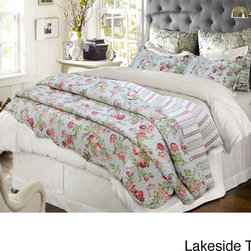 None - Vanessa Floral 3-piece Quilt Set - Change the look of your bedroom when you add this elegant three-piece quilt set. The floral pattern will make you feel like you are sleeping in a spring garden, and it is made entirely of cotton, which will feel soft to the skin when you rest.