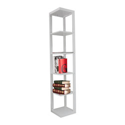 Khome - White Wood Corner Bookcase - Made of MDF, in White finish.