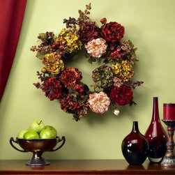 22 in. Autumn Hydrangea Peony Wreath - Designed to mimic autumn's finest shades the 22 in. Autumn Hydrangea Peony Wreath is a welcome to the changing of the seasons. Designed and crafted to celebrate year after year this stunning wreath is a unique commentary on fall's canvas.About Nearly Natural Inc.For over 75 years Nearly Natural Inc. has been providing conscientious consumers with beautiful alternatives to natural decorations. Employing and advised by naturalists who understand the live plant world Nearly Natural is able to recreate the most realistic-looking decorative items for homes offices and businesses. Driven by a true commitment to customer service attention to detail and natural philosophy Nearly Natural strives to bring customers the most beautiful unique and striking faux fauna and flora on the market.