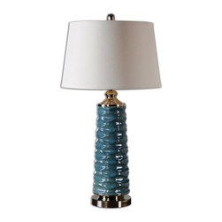 Billy Moon - Billy Moon Delavan Rust Blue Transitional Table Lamp X-76562 - Scalloped ceramic finished in a rust blue glaze accented with polished chrome details. The round, slightly tapered hardback shade is a white linen fabric.