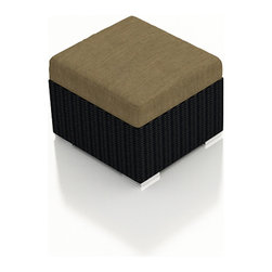 Harmonia Living - Urbana Patio Modern Wicker Ottoman, Heather Beige Cushions - A multipurpose outdoor wicker ottoman is a terrific addition to any patio furniture set. Rust-proof, easy to clean and fade and mildew resistant, the lightweight footstool will be the center of any outdoor gathering. Rest your feet, park a tray or use it to primp your boxed plantings, kids also love to sprawl out on these modern movable hassocks!