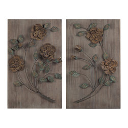 Sterling - Sterling 137-015/S2 Finningleyset Of 2 Wooden Wall Panel With Handpainted Metal - Sterling 137-015/S2 Finningleyset Of 2 Wooden Wall Panel With Handpainted Metal Flowers