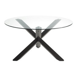 """Sunpan Modern - Bravo Dining Table - Features: -Top material: Tempered glass.-Base material: Solid rubber wood.-Shape: Round.-Style: Contemporary.-Thick glass: 10mm.-Seats up to six.-Add style to any space.-Finish: Espresso.-Please note that although every attempt has been made to ensure accuracy, all dimensions are approximate and colors may vary.-Collection: Bravo.-Top Finish: Clear.-Base Finish: Espresso.-Distressed: No.-Powder Coated Finish: No.-Gloss Finish: No.-Top Material: Glass.-Base Material: Wood.-Solid Wood Construction: Yes.-Reclaimed Wood: No.-Number of Items Included: 1.-Non-Toxic: Yes.-UV Resistant: No.-Heat Resistant: No.-Scratch Resistant: No.-Rust Resistant: No.-Glass Component: Yes -Tempered Glass: Yes.-Beveled Glass: No.-Frosted Glass: No..-Leaf Included: No.-Seating Capacity: 6.-Wine Storage: No.-Shelving Included: No.-Drawers Included: No.-Stemware Holder: No.-Outdoor Use: No.-Swatch Available: No.-Commercial Use: Yes.-Recycled Content: No.Dimensions: -Overall Height - Top to Bottom: 30"""".-Overall Width - Side to Side: 55"""".-Overall Depth - Front to Back: 55"""".-Legs: -Leg Height - Top to Bottom: 29""""..-Overall Product Weight: 143 lbs.Assembly: -Assembly Required: Yes.-Additional Parts Required: No.Warranty: -This item is deemed acceptable for both residential and nonresidential environments such as restaurants, hotels, lounges, offices and reception areas. Please note that this item carries the manufacturer''s standard one year warranty from the date of purchase. Please contact Wayfair customer service or sales representatives for further information.-Product Warranty: 1 year."""