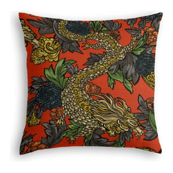Red Chinoiserie Dragon Custom Pillow - The every-style accent pillow: this Simple Throw Pillow works in any space.  Perfectly cut to be extra fluffy, you'll not only love admiring it from afar but snuggling up to it too!  We love it in this modern chinoiserie dragon in red, teal, gray & gold. so chic it will steal the show in any room.