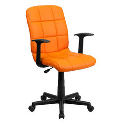 Flash Furniture - Flash Furniture Mid-Back Orange Quilted Vinyl Task Chair with Nylon Arms - This contemporary designed computer chair will highlight a dull or attractive work space. Get away from the ordinary office chair with the attractive quilted, tufted upholstery. [GO-1691-1-ORG-A-GG]
