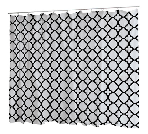 Uneekee - Uneekee Black Quatrefoil  Shower Curtain - Your shower will start singing to you and thanking you for such a glorious burst of design as you start your day!  Full printing on the front and white on the back.  Buttonhole openings for shower rings.