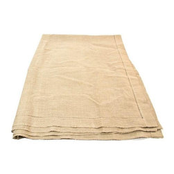 Pre-owned Linen Tablecloth in Beige - This muted and sophisticated linen tablecloth will bring some much needed peace and quiet to the dinner table after those long, rowdy, and busy days!  Chic, pretty, and tasteful.  It can be paired with almost any style decor.