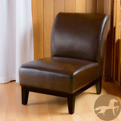 Christopher Knight Home - Christopher Knight Home Darcy Brown Leather Slipper Chair - The Darcy brown slipper chair is upholstered in smooth brown bonded leather and stands on brown wooden legs. Its size, simplicity and stylish design make this piece perfect for any small space.