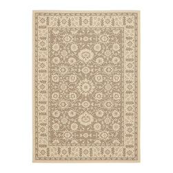 """Safavieh - Courtyard Brown Area Rug CY6126-22 - 5'3"""" x 7'7"""" - Safavieh takes classic beauty outside of the home with the launch of their Courtyard Collection. Made in Belgium with enhanced polypropylene for extra durability, these rugs are suitable for anywhere inside or outside of the house. To achieve more intricate and elaborate details in the designs, Safavieh used a specially-developed sisal weave."""