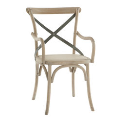 Kathy Kuo Home - Pair Kasson French Country Paris Cafe Wood Metal Dining Arm Chair - A light Natural Wood finish and industrial Iron accents make The Kason Arm Chair the perfect companion to The Kason Side Chair, features a cane seat and slim profile.